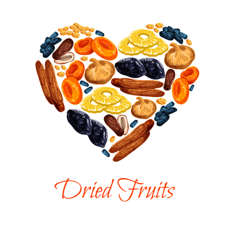 Dried fruits poster in heart shape of sweet dry fruit snacks. Vector dried apricots, dates or raisins and prunes. Sweet mix of figs, pineapple or cherry and fruit desserts for shop or market.