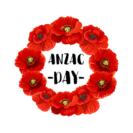 Anzac Day memorial wreath icon of red poppy flower Stock Vector - 94133432