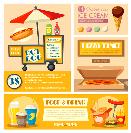 Fast food vendor menu vector poster banner Illustration