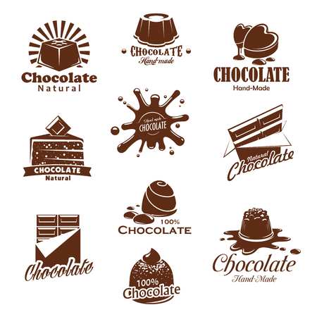 Vector iconis of chocolate candy desserts splash