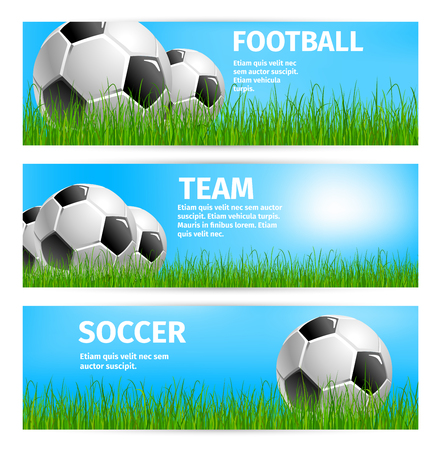 Soccer sport team or football game cup banners templates for championship or college league tournament. Vector design of soccer ball on green grass of playing field at arena stadium under sun light.