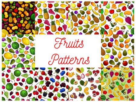 Fresh fruit and berry seamless pattern background illustration. Ilustração