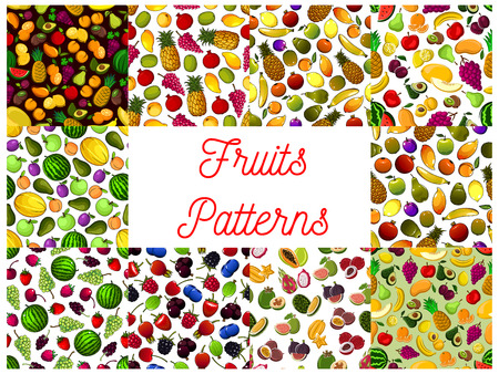 Fresh fruit and berry seamless pattern background illustration. Illustration