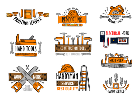 Work tools icons for house construction and home repair service. Vector isolated set of electric lamp voltmeter and fuse, woodwork saw and drill or hammer, handyman ladder or carpenter grinder plane.