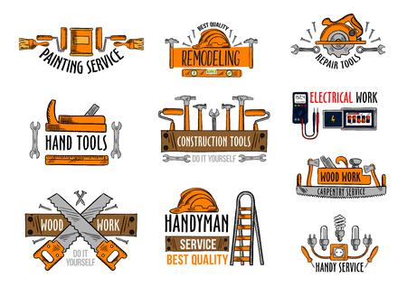 Trabalhe ícones das ferramentas para a construção da casa e o serviço de reparações home. O grupo isolado vetor de voltímetro e de fusível da lâmpada elétrica, a serra da carpintaria e a broca ou o martelo, a escada do trabalhador manual ou o moedor do carpinteiro aplainam.