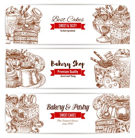 Bakkerij en patisserie schets banners. Taart, chocolade en cupcake, fruitroomdessert, donut, snoep en ijs, peperkoekkoekje, taart en macaroon en muffin. Cafe menu, voedselverpakking ontwerp. Stock Illustratie