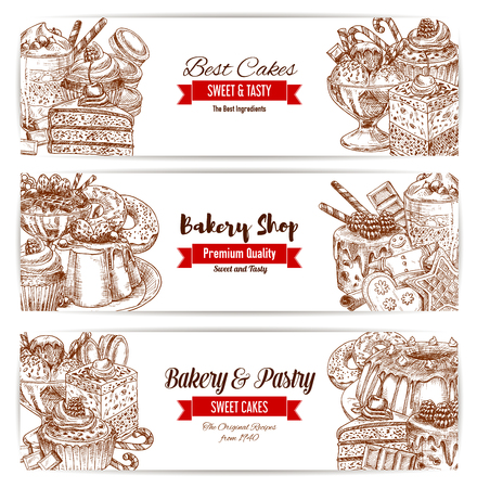 Bakery and pastry shop sketch banners. Cake, chocolate and cupcake, fruit cream dessert, donut, candy and ice cream, gingerbread cookie, pie and macaroon and muffin. Cafe menu, food packaging design. Illustration