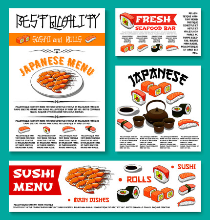 Sushi bar menu banner or poster templates set for Japanese seafood restaurant cuisine. Vector sushi rolls, green tea or tempura shrimp and fish, salmon maki or guncan and noodle soup with tuna sashimi.