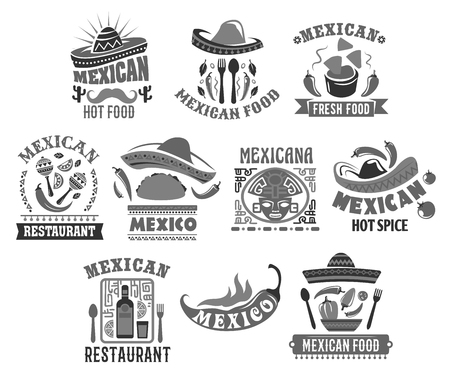 Mexican restaurant icons set of sombrero hat, jalapeno chili pepper in tacos or burrito or and tequila bottle. Vector isolated Aztec or Maya ornament symbols for Mexican traditional cuisine food bar.