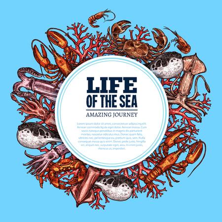 Zeelevenaffiche van oceaanvissen en dieren. Vector schets octopus, forel of bot en inktvis in koraal, kreeft krab of zalm op onderwater algen. Tropische exotische vissen voor oceanariumontwerp.