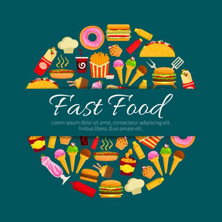 Fastfood restaurant gerechten. Hamburger, hotdog en patat, frisdrank en koffie, donut, cake, taco, ijs en burrito en meer. Menu, posterontwerp. Stockfoto - 93949067