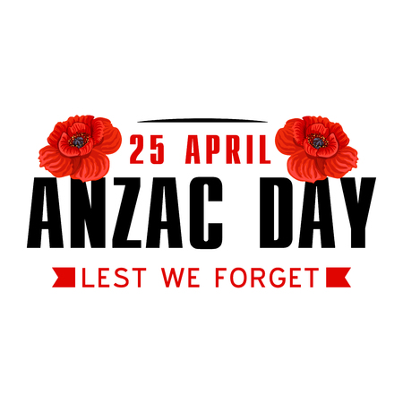 Anzac or Australian and New Zealand army corps Remembrance Day icon. Red poppy flower and ribbon banner with Lest We Forget text. For World War soldier and veteran memorial card design.