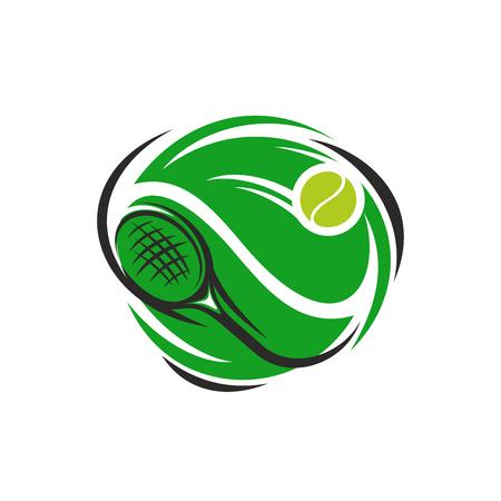 테니스 스포츠 클럽 또는 리그 컵 대회 아이콘. 녹색 재생 라켓 및 노란색 공을 디자인 서식 파일. 벡터 격리 된 배지 테니스 선수권 대회입니다. 일러스트