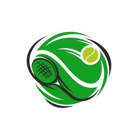 Tennis sport club or league cup tournament icon. Design template of green playing racket and yellow ball. Vector isolated badge for tennis championship.