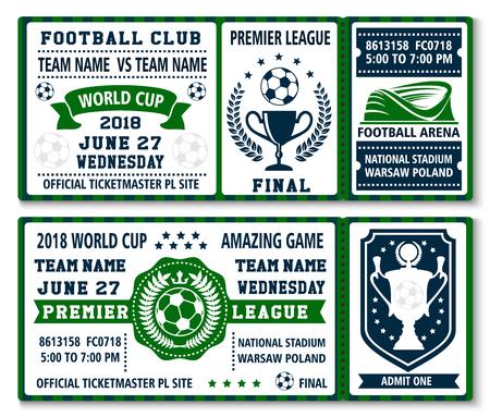 Soccer cup game kampioenschap tickets ontwerpsjabloon voor internationale voetbalcompetitie teamtoernooi. Vector voetbal en winnaar doel cup, krans of sterren en vlaggen op arena stadion