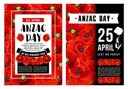 Anzac Day poster with poppy flower, black ribbon