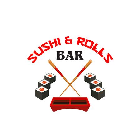 Vector icon of sushi bar Japanese cuisine