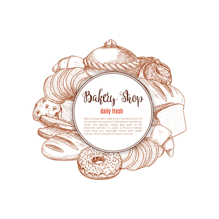 Bakery shop bread and pastry vector sketch
