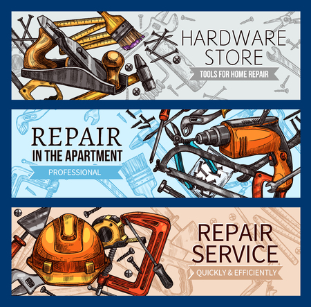 Vector work tools home repair sketch banners Vettoriali