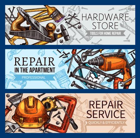 Vector work tools home repair sketch banners Stock fotó - 94133652