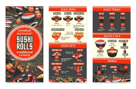 Japanese cuisine restaurant menu template for Asian food cafe. Vector price for sushi, fish rolls sets, rice or ramen noodle soup and salmon sashimi, eel or tuna maki and Japanese tea and chopstick.
