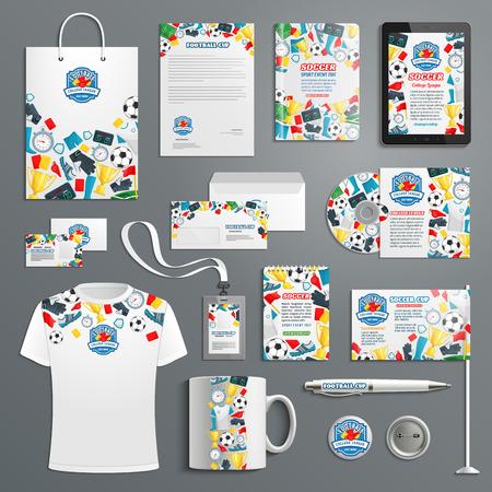 Advertising promo vector items for soccer football Vectores