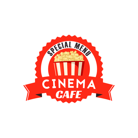 Pop corn box vector icon for cinema cafe menu Ilustração