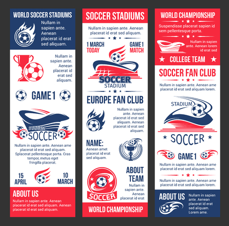 Vector banners for football soccer match game