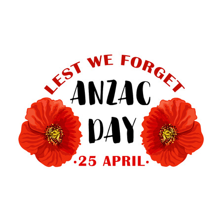 Red poppy flower symbol of Anzac Remembrance Day Vettoriali