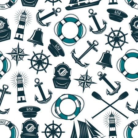 Vector nautical marine heraldic seamless pattern