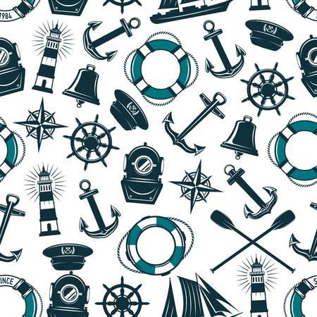 Vector nautisch marien heraldisch naadloos patroon