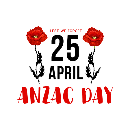 Anzac Day 25 April memorial card with red poppy