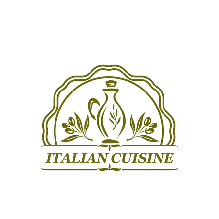 Vector olive oil olives icon for Italian cuisine
