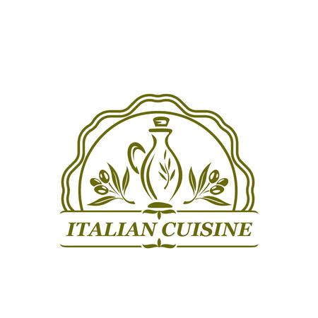 Vector olijfolie olijven pictogram voor Italiaanse keuken Stock Illustratie