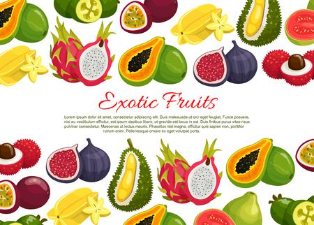 열대 이국적인 과일의 벡터 포스터