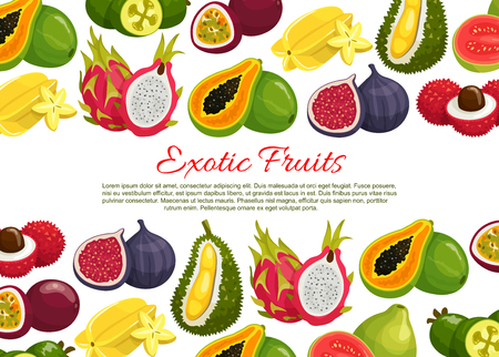 Vector poster of tropical exotic fruits Иллюстрация