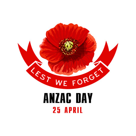 Anzac Day Lest We Forget card with poppy flower