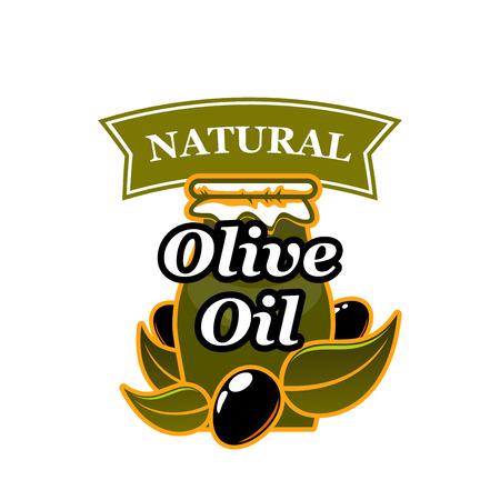ベクトル天然オリーブオイルとオリーブのアイコン