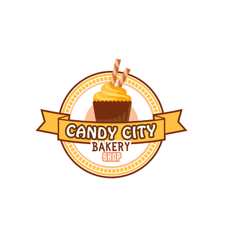 Candy shop cupcake or pastry cake vector icon