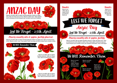 Anzac Day memory banner of poppy flower and ribbon