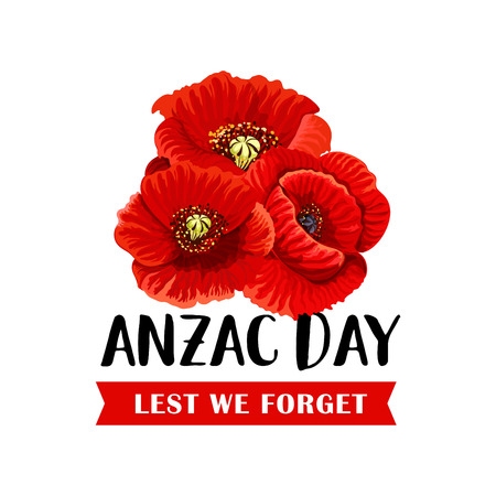 Anzac Remembrance Day icon with red poppy flower 免版税图像 - 94133752