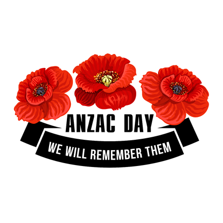 Anzac Day flower symbol of red poppy. Black ribbon banner with We Will Remember Them message and poppy flower for Australian and New Zealand Army Corps Remembrance Day memorial card design