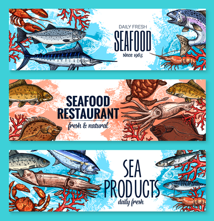 Seafood and fresh fish restaurant or fishery product market sketch banners template. Vector sea food squid, turtle or tuna and shrimp, octopus or lobster crab and trout, ocean sardine and herring