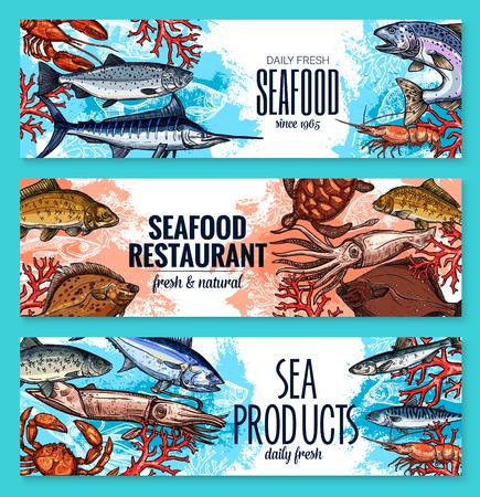 해산물 및 신선한 생선 레스토랑 또는 수산물 제품 시장 스케치 배너 템플릿. 벡터 바다 음식 오징어, 거북 또는 참치 및 새우, 문어 또는 가재 크랩 및  일러스트
