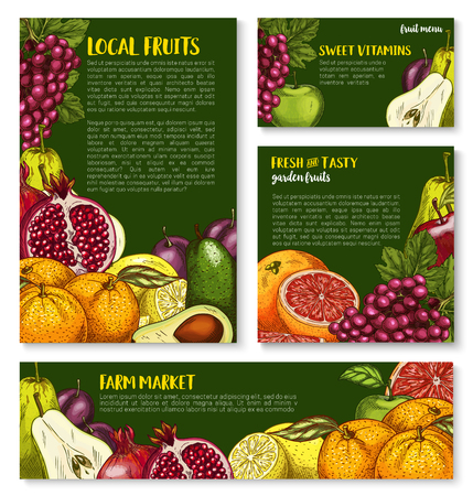 Vector sketch fruit store banners of farm fruits Ilustrace