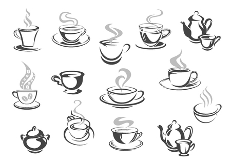 Cafe cafetaria koffiemokken, thee kopjes vector iconen. Stock Illustratie