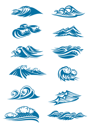 Vector waves icons of ocen water wave blue splash. Illustration