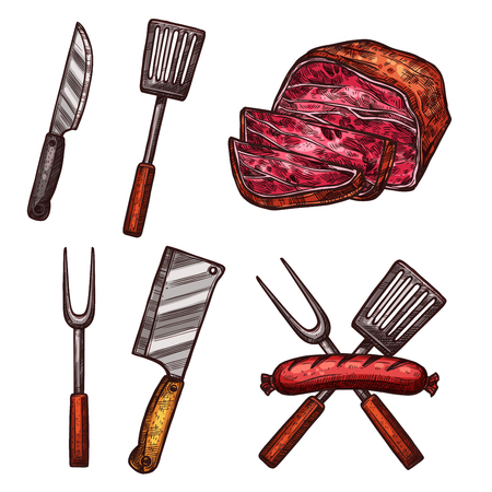 Grill meat sausages cutlery sketch vector icons Illustration