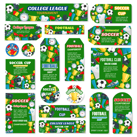Soccer club or college league match game banners, posters and tags for team football tournament design template. Vector soccer victory cup and football ball goal, flag and star on arena stadium Ilustração