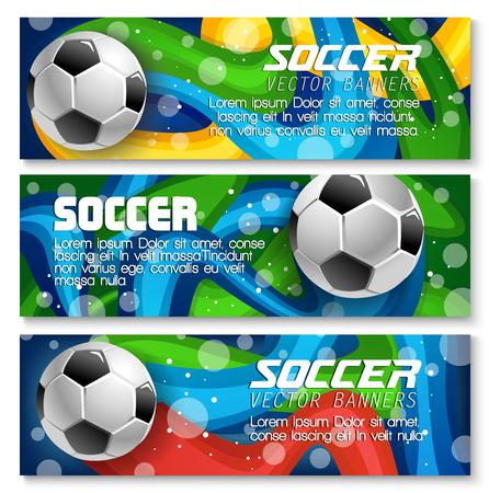 축구 배너 축구를위한 템플릿 디자인 배경 스포츠 팀 또는 대학 리그 챔피언십. 벡터 축구 공을 경기장 경기장, 축구 황금 컵 상 및 팀 플래그 색 일러스트